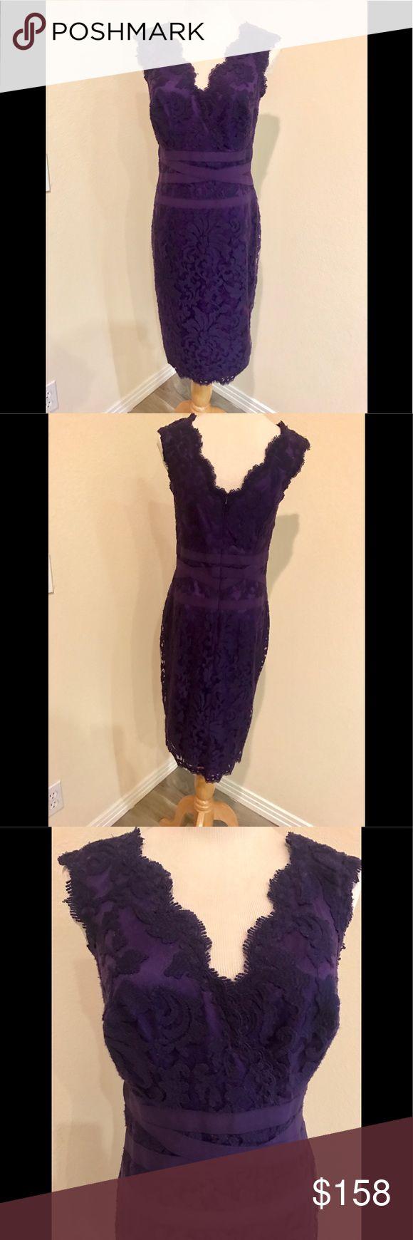 Tadashi Shoji purple v-neck lace cocktail dress NWT.  CHEST: 35 WAIST: 27.5 HIPS: 38 Fit more like Size 8/10 Tadashi Shoji Dresses Midi