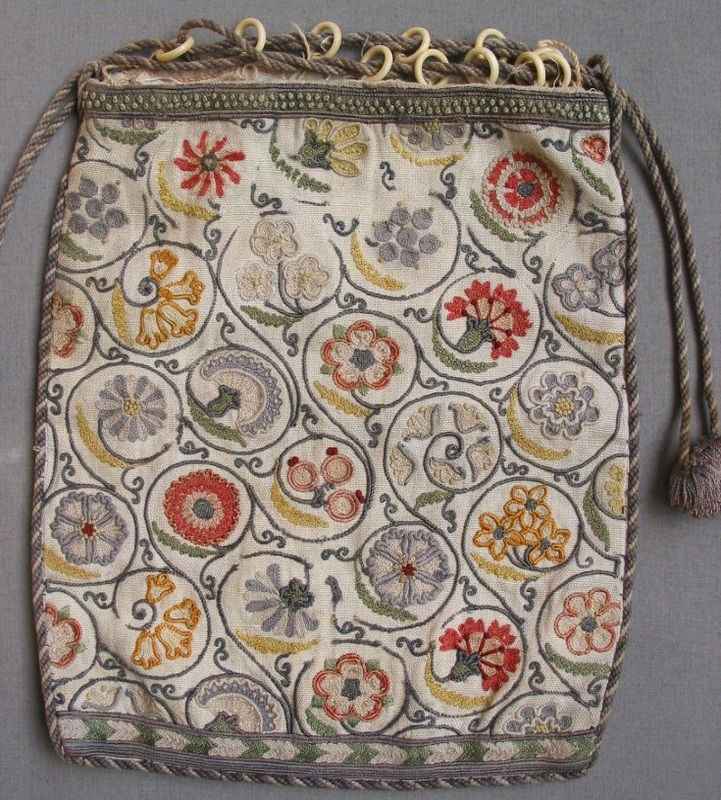 Medieval Embroidery Designs   small linen bag worked with Elizabethan style floral embroidery. The ...