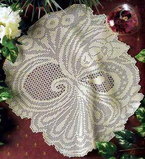 Hobby lavori femminili - ricamo - uncinetto - maglia: centro ovale con schema uncinetto