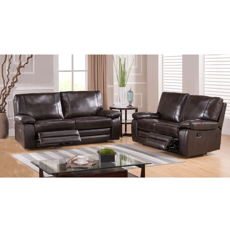london dark brown top grain leather reclining sofa and loveseat - Living Room Leather Sofas