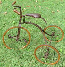 ANTIQUE TRICYCLE  Vintage Victorian Wood Metal Child Bike NICE Primitive Display