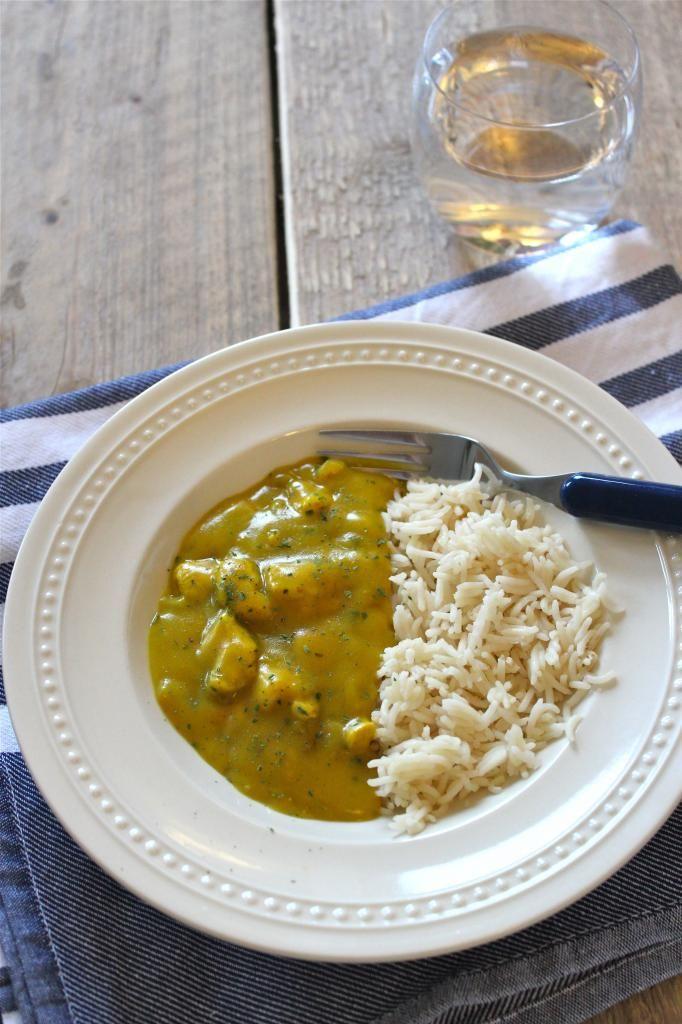 Slankere variant van kip-kerrie met rijst