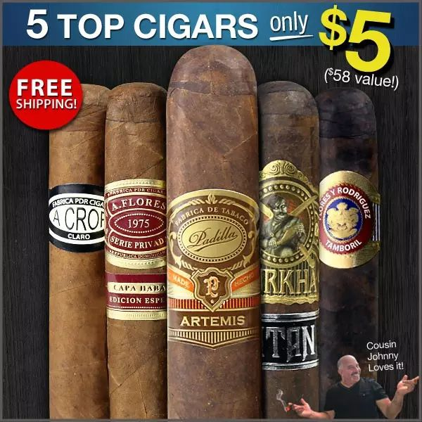 5 cigars $5 and free shipping YMMV #LavaHot http://www.lavahotdeals.com/us/cheap/5-cigars-5-free-shipping-ymmv/209514?utm_source=pinterest&utm_medium=rss&utm_campaign=at_lavahotdealsus