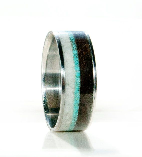 Mens Wedding Band Antler Wood And Turquoise Ring Staghead Designs Beauti