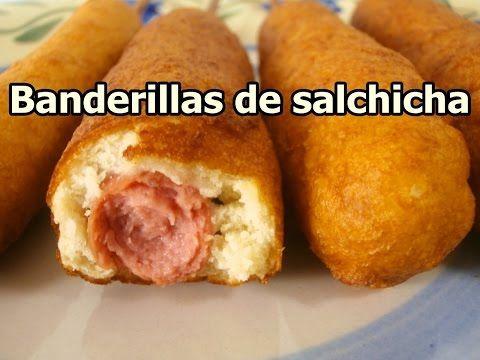 BANDERILLAS DE SALCHICHA - recetas de cocina faciles rapidas y economicas - comidas ricas - YouTube