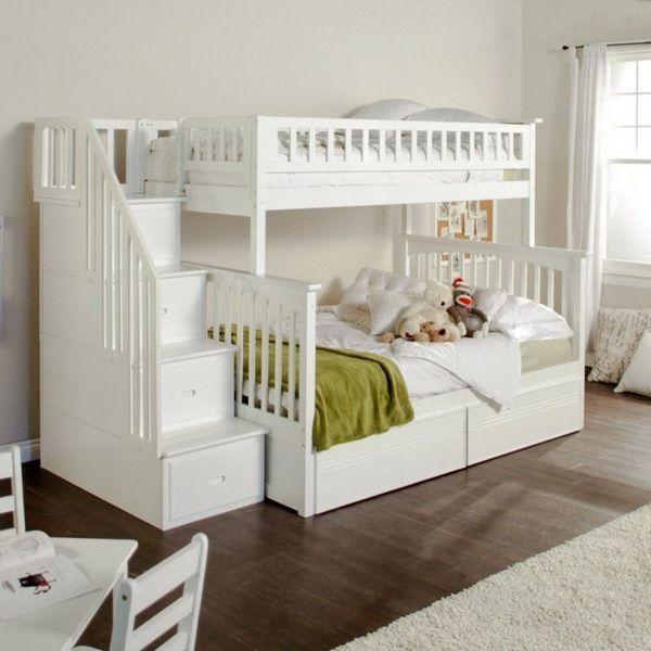 enfants lit superposé escaliers pépinière fonctionnelle blanc brillant