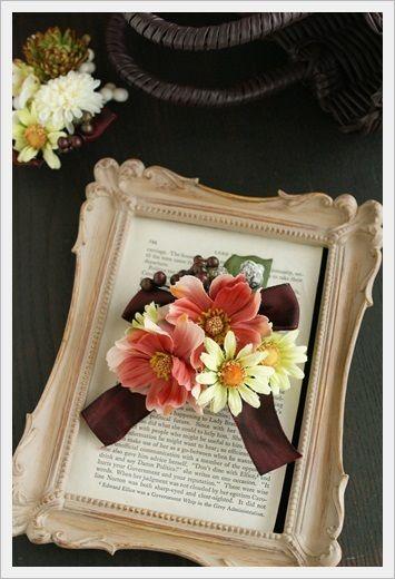 『【プチブローチ】秋の小花とカゴバック』 http://ameblo.jp/flower-note/entry-11613854675.html