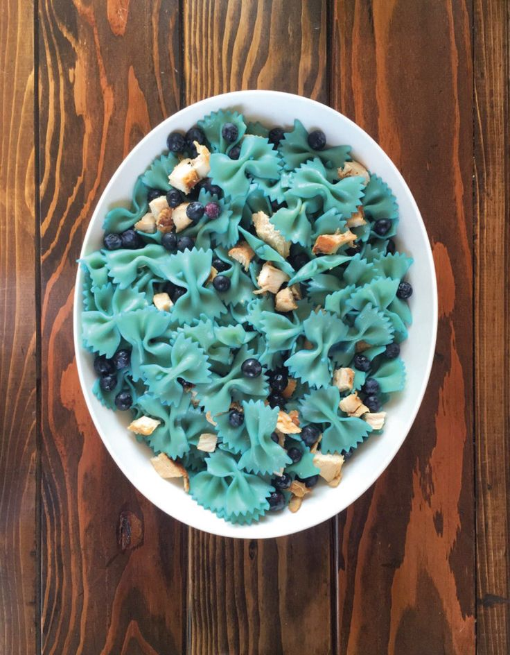 """When it comes to baby boy showers, bow ties and mustaches rule the field.  When I was curating the pinterest board for the OH BOY! palette, I wanted  to include a bow tie pasta salad. Seems obvious, right? Incorrecto. Sure,  there are plenty of bow tie pasta salad recipes but nothing with a fun  twist for a baby shower. For starters, the bow tie pasta should be blue,  right? That's when my mission was defined.I wanted to draw in some """"blue""""  food somehow and stumbled across a chicken…"""