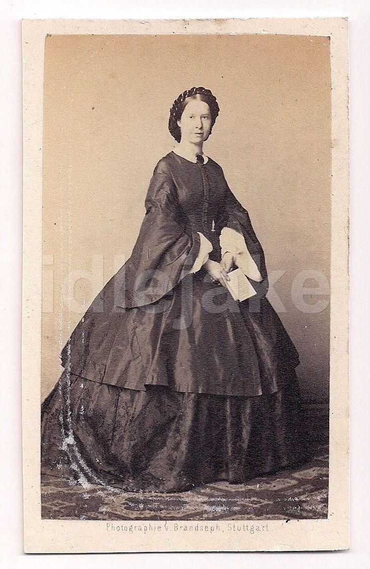 Germany Stuttgart Lady in Crinoline Elaborate Hair Brandseph CDV Photo 1860s | eBay