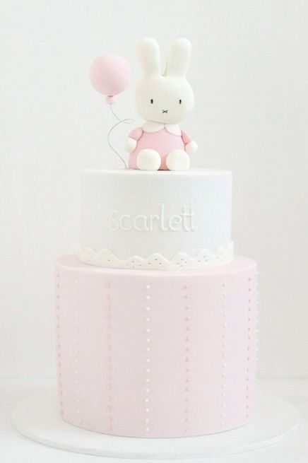 Cute & simple baby shower cake! I would want pink with another color & a…