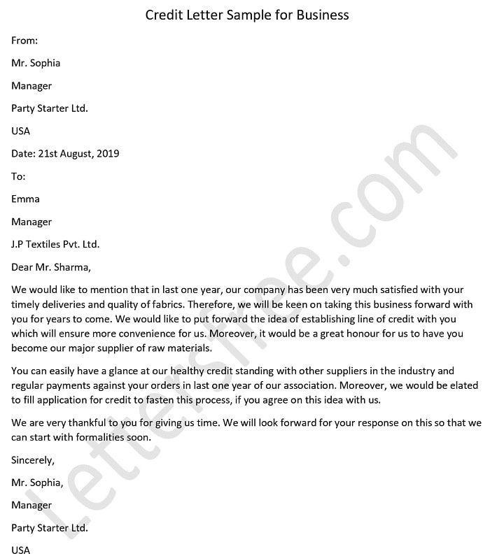 Credit Letter Sample For Business Letter Sample Lettering