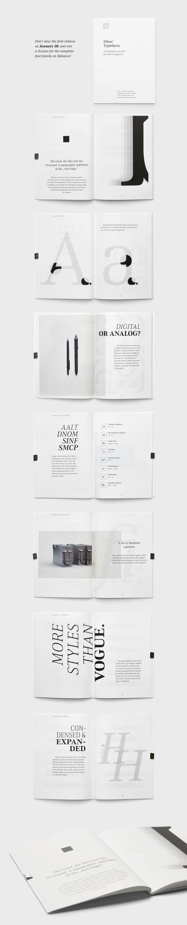 Ethos Typefaces – Specimen Book on Behance