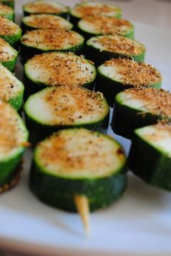 Zucchini kabobs- Such a great idea so they dont fall into the BBQ! The link serves the kebobs along with Apricot Glazed Turkey Burgers Stuffed with Goat Cheese - yum!