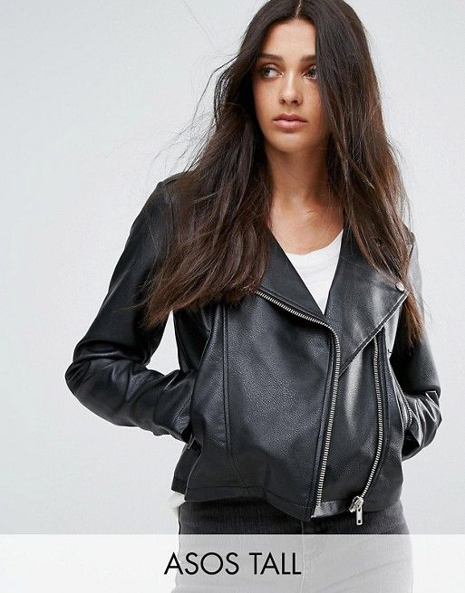 e94d8b0c1 DESIGN Tall ultimate leather look biker jacket | short list | Asos ...