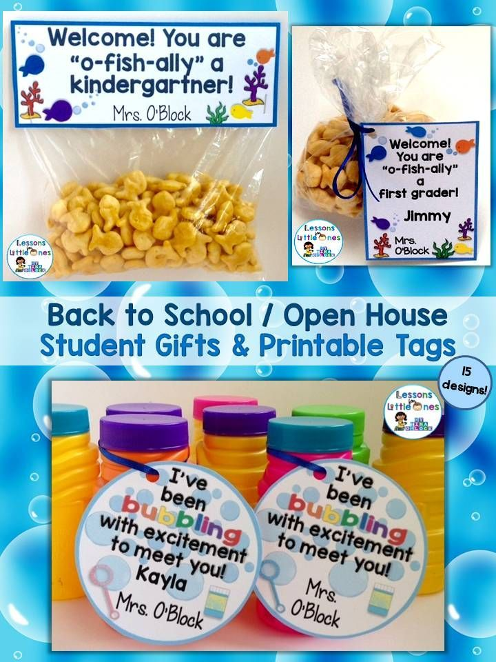 See 15 different ideas & tags for memorable, inexpensive Back to School, Open House, Meet the Teacher student gifts.  https://lessons4littleones.com/2016/07/19/back-to-school-open-house-meet-the-teacher-student-gift-tags/
