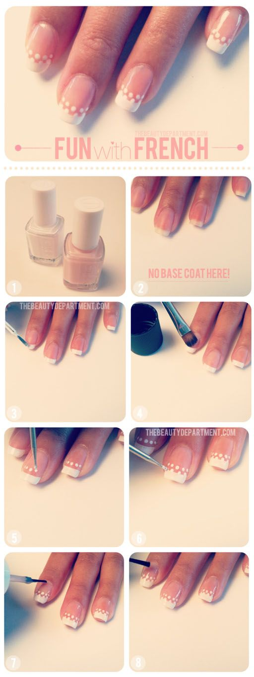 Fun with french nail tutorial | We're simply adding two rows of cute little dots below the classic French manicure line. Simple enough, right? Get out your dotting tool and let's get started! | thebeautydepartment
