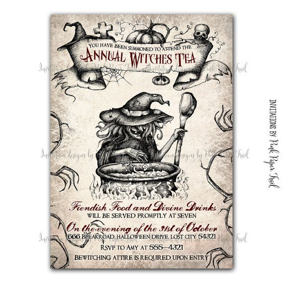 Halloween Invitation  Witches Tea Party  di PinkPaperTrail su Etsy
