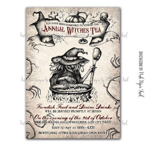 Halloween Invitation - Witches Tea Party - Customizable wordings - printable Invitation