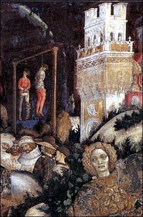Detail from Pisanello's St. George and the Princess of Trebizond (right side), c. 1436-38. Fresco. Pellegrini Chapel, Chiesa di Sant'Anastasia, Verona, Italy.