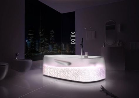 The Xiuxi Bathtub by Erik Edward Kim is a spa bath with an air injection device at the bottom. There is infrared light to stimulate cell tissues and enhance blood circulation. The specs include a Whirlpool pump to swirl the water for a pressure massage, speakers for music, mood lighting, Haptic function utilizing new technologies and auto temperature control. What is special about it is a transparent look of the tub.