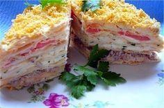 Есть торт Наполеон, а это закуска – приготовленная из коржей для торта и выложенная как торт. Оригинальное блюдо, можно подавать на праздничный стол. Ингредиенты: коржи для торта – 6 шт,грибы – 0,5…