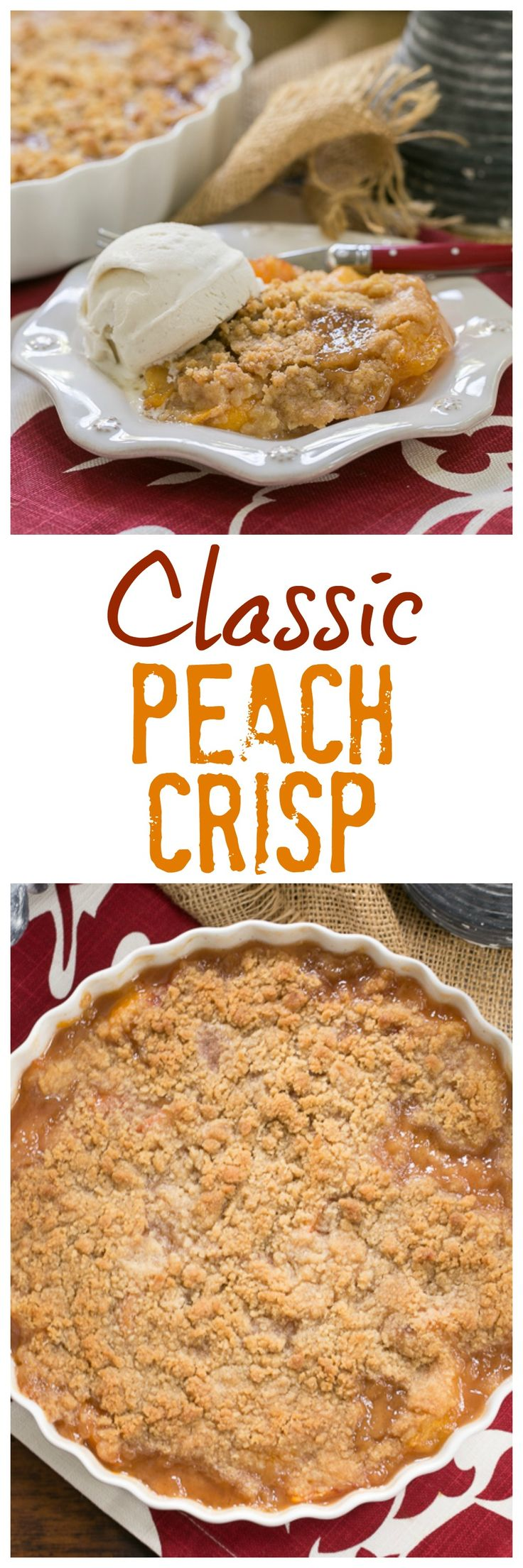 Peach Crisp | Sweetened peaches with a buttery, brown sugar crisp topping @lizzydo