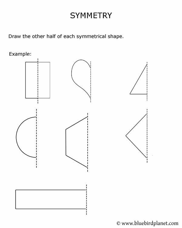 Free printable worksheets for preschool, Kindergarten, 1st, 2nd, 3rd, 4th, 5th grades. Symmetry.