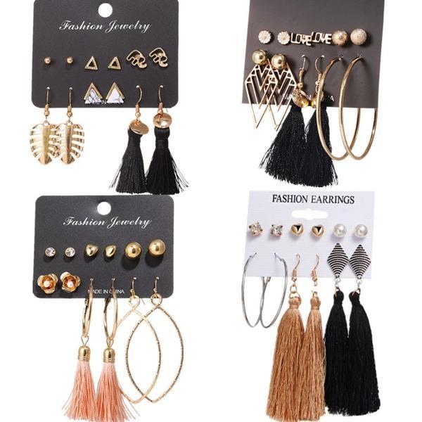 Bohemian Fabric Flower Long Tassel Drop Dangle Women Ear/' Studs Earrings K