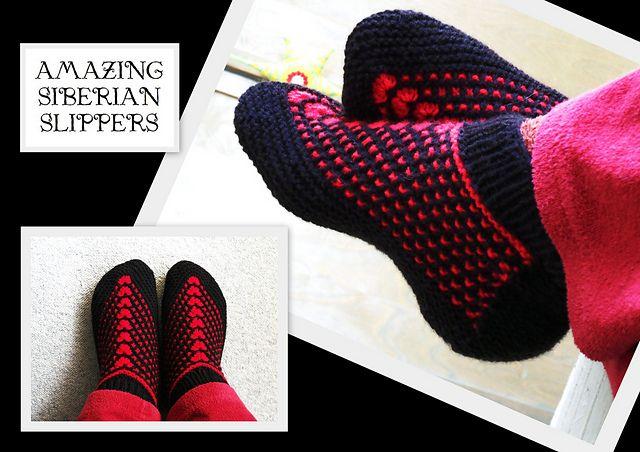 Ravelry: Amazing Siberian Slippers pattern by Henya Kazatchkov.  Adult version.