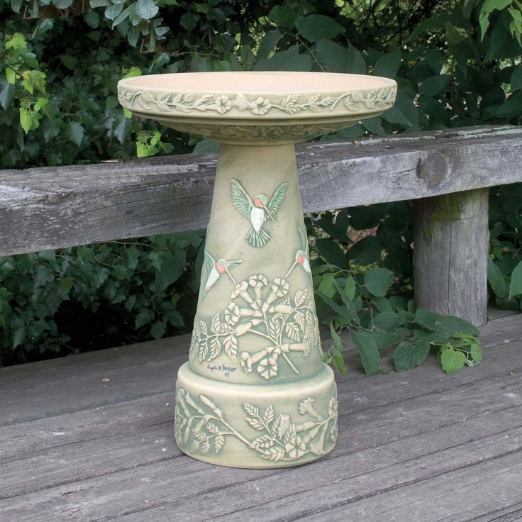 Burley Clay Hand Painted Hummingbird Ceramic Bird Bath | from hayneedle.com