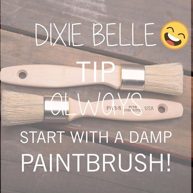 If you know Dixie Belle Paint you know that a damp brush is the BEST way to start a project. This extends the paint and gives it a silky smooth, bristle free and stroke free finish with any paint brush! #bestpaintonplanetearth #dixiebellepaint #chalklife