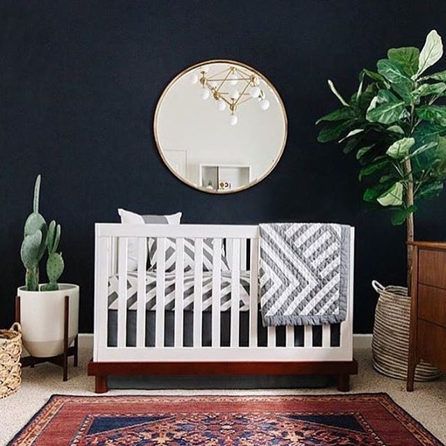 Baby room inspo  @thestylephiles #fiddleleaffig #indoorplants #babyroom #mirror