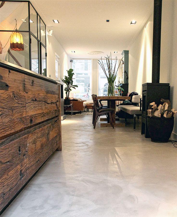 Voorbeelden van Microcement vloeren - natuurlijke gietvloeren en betonvloeren en woonbeton uit Amsterdam