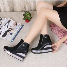 Hot !!! 2016 Size 35-39 F1376 Korean Styles Women's Fashion Zip Platform Wedges Pumps Party High Heeled Shoes(China (Mainland))