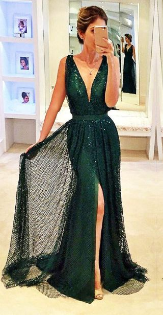 V-Neck Dark Green Prom Dress,Long Prom Dresses,Charming Prom Dresses,Evening Dress, Prom Gowns, Formal Women Dress,prom dress