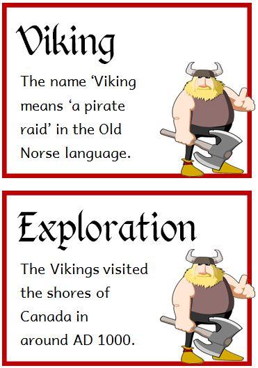 The Vikings Fact Cards - Treetop Displays - Printable EYFS, KS1, KS2 classroom displays & primary teaching resources