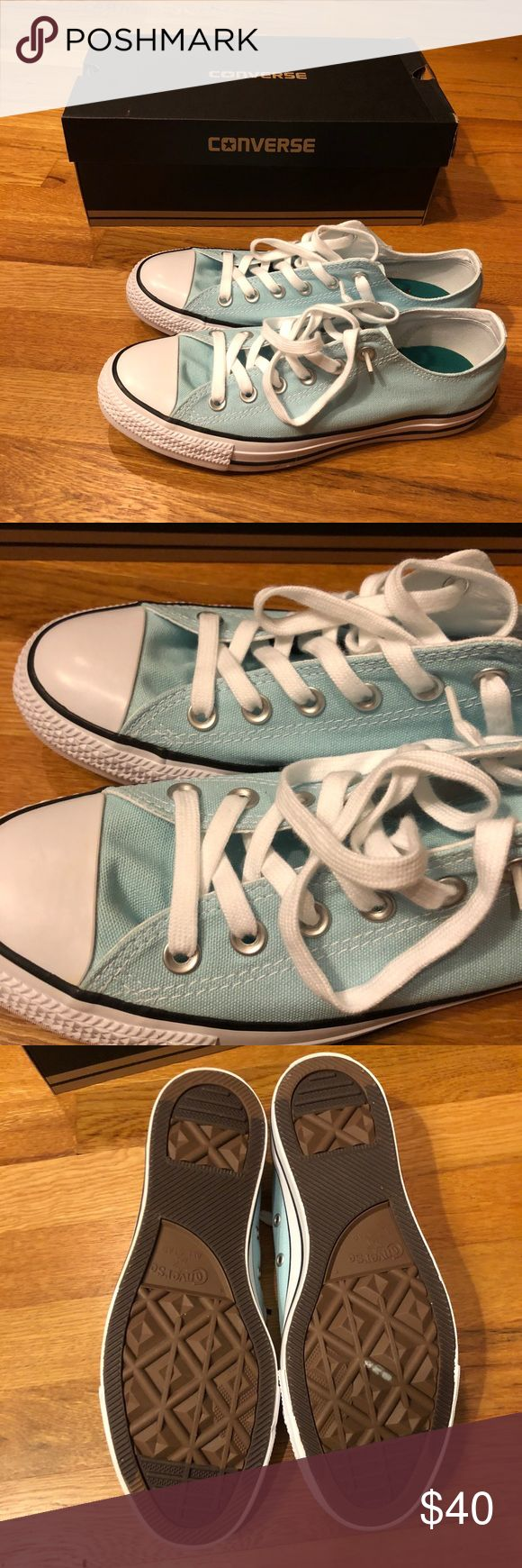 New in box. Converse all star low sneakers. New in box. Converse low top all*star sneakers. They have a double tongue (see last pic). Women's size 9. Color is 'motel pool'. Price firm. Converse Shoes Sneakers