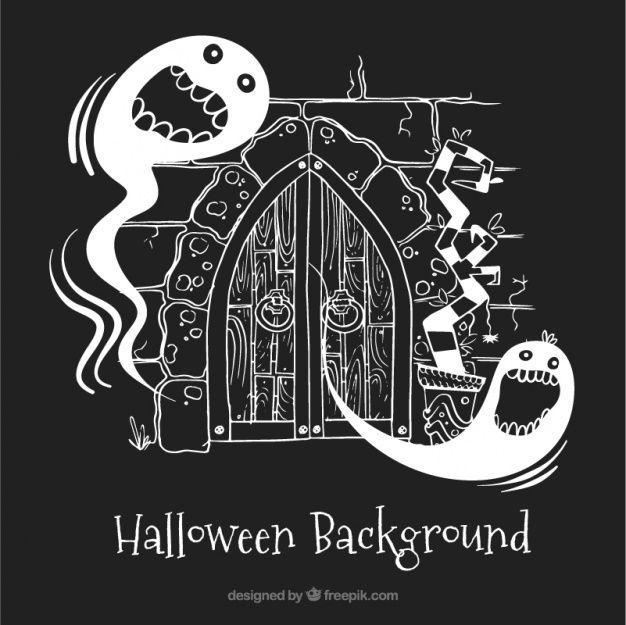 fantasmas do dia das bruxas assustador com fundo preto Vetor grátis