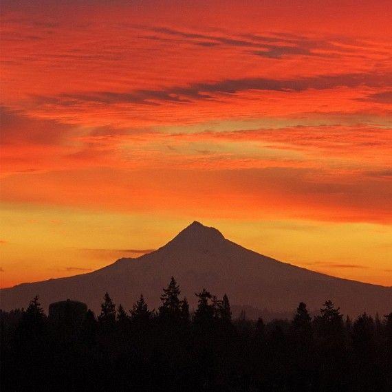 "Mountain Print, Sunrise Photo ""Hood Sunrise"" Portland Oregon Art, Mountain Photo, Oregon Print, Mount Hood Photo, Orange Sky Sunrise Picture"