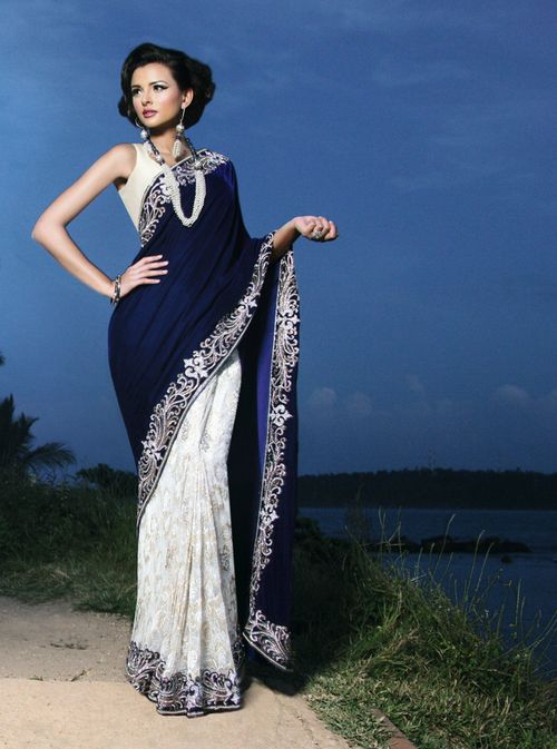 Saree by:Alankar royal blue and white - for more follow my Indian Fashion Boards :):