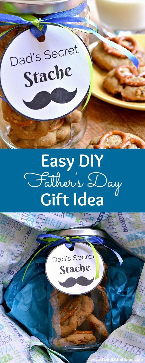 Easy DIY Father's Day gift idea ... Dad's Secret Stache jar with free printable gift tag! Fill a mason jar with your favorite homemade cookies and attach a fun label for dad ... it's the perfect affordable, last minute Father's Day gift (give it from the kids or even a wife) that he's sure to love! Includes a yummy Salted Caramel Pretzel Cookie recipe!   Hello Little Home AD