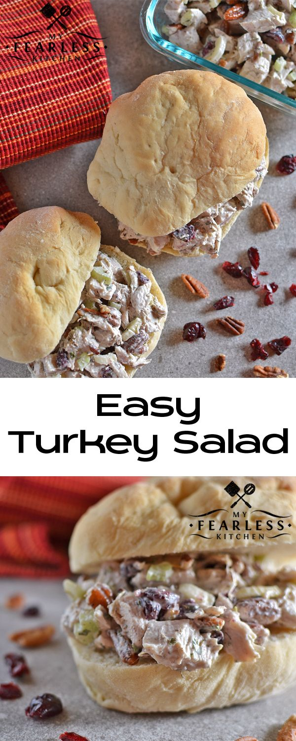 Easy Turkey Salad from My Fearless Kitchen. This Easy Turkey Salad whips up in practically no time at all. Use leftover turkey, or get some turkey breast just to make this turkey salad!