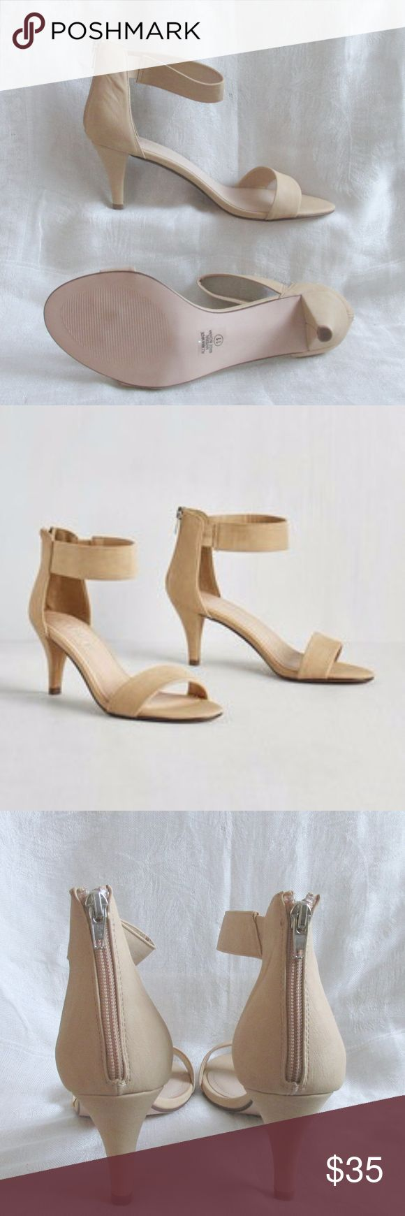 """CITY CLASSIFIED Beige Nude Ankle Strap Heels City Classified Nude Ankle Strap Heels Size 11  Condition: New In Box Brand: City Classified  Type: Sandal Style: Ankle Strap Color: Nude/Beige Features: Thick ankle strap Size: 11 Heel Height: appx 2.75"""" Materials: Man made materials   Closet Note: A very popular style but without the ankle breaking heel height. Has a thick ankle and toe strap. The ankle strap zips up the back  DD 14.7.17 City Classified Shoes Heels"""