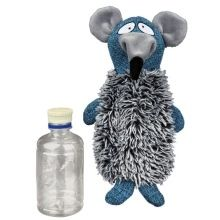Plyšovo/látková krysa se zvukem a plast. lahví, 21 cm