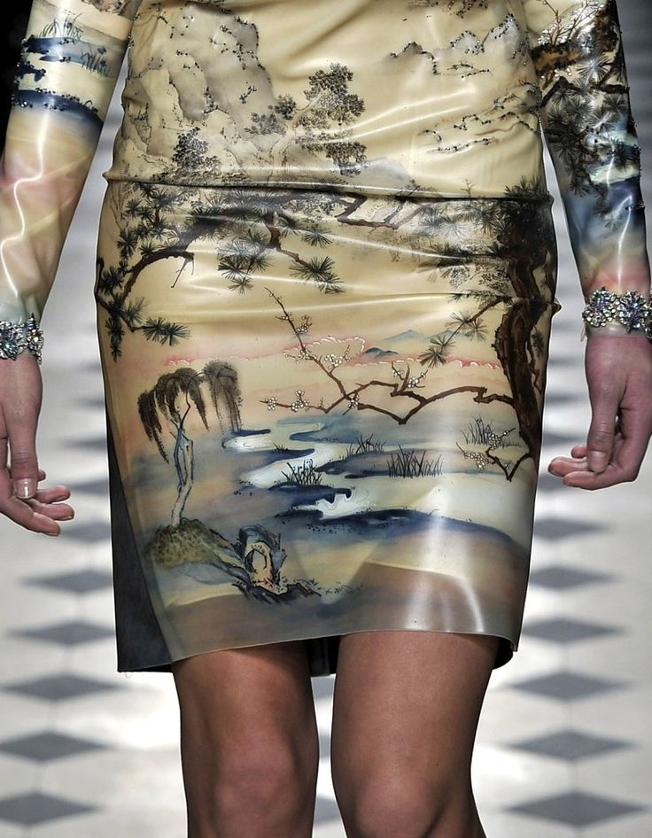 Balenciaga printed latex dress. Latex sheeting for fashion: http://www.MJTrends.com/categories-.30mm,Latex-Sheeting