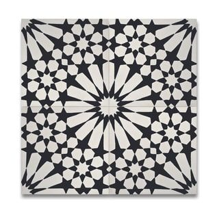 Pack Of 12 Agdal Balck And White Handmade Cement Granite 8 X 8 Inch Floor And Wall Tile Morocco By Moroccan Mosaic
