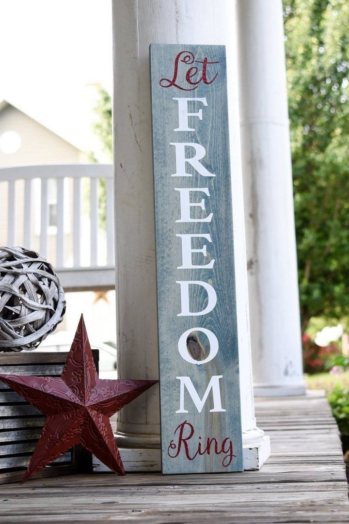 Free U S Shipping Let Freedom Ring Wood Sign I Freedom Sign I Porch Sign In 2020 Fourth Of July Decor Porch Signs Patriotic Decorations