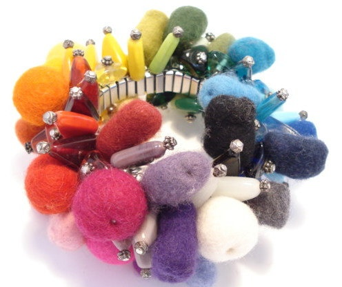 Big rainbow color bracelet by Stilling on Etsy