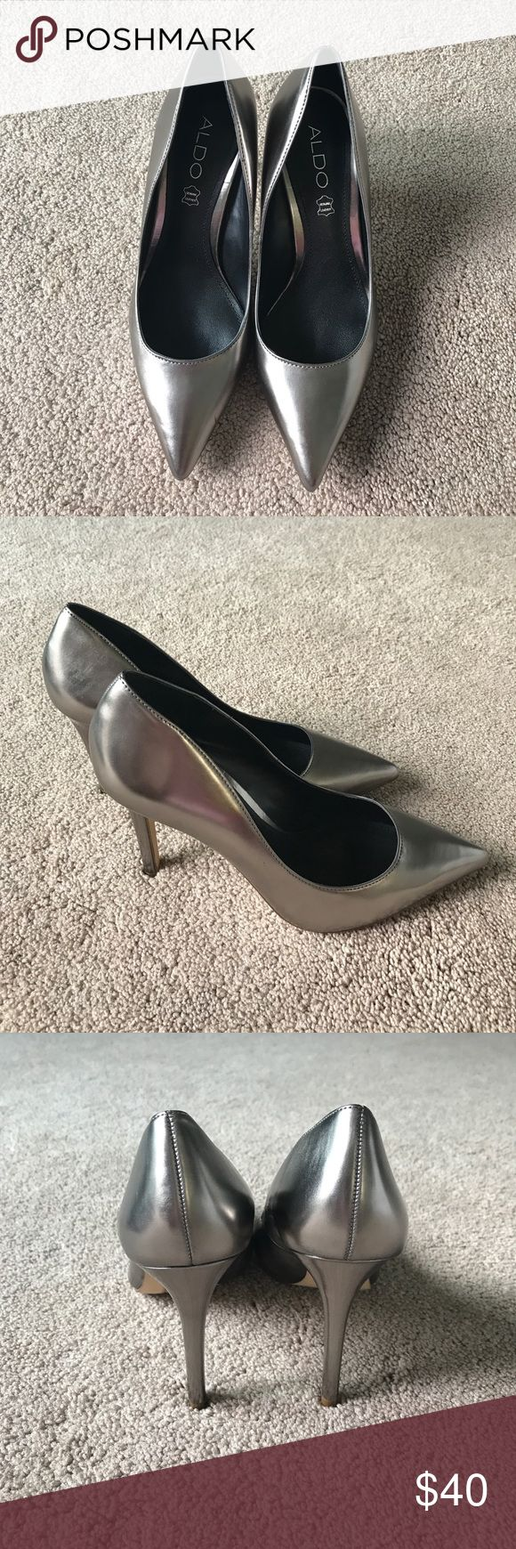 """NWOB Aldo Stessy silver pumps. Closed pointy toe heeled pumps. Heel height 4.25"""". Scratch on right shoe as shown on picture. Aldo Shoes Heels"""