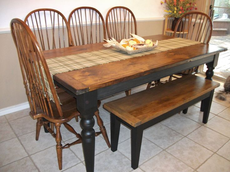 Farmhouse Table With Bench Back Brace Windsor Chairs